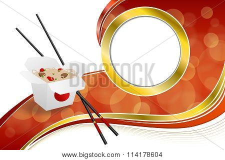Abstract background Chinese food white box red yellow circle frame illustration vector