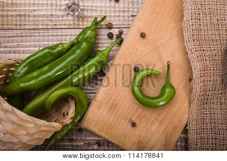 Raw Green Capsicums
