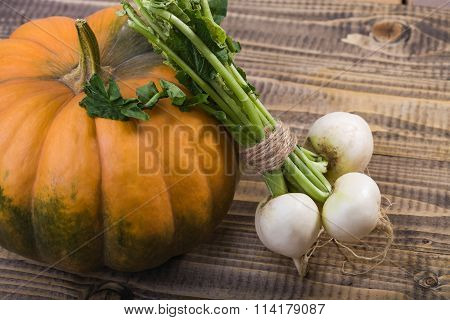 Big Pumpkin And Turnips
