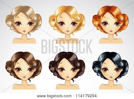 Set Of Glamur Hairstyle