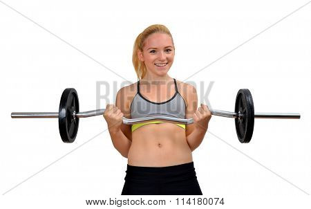 Girl exercise biceps muscles with dumbbell on white background