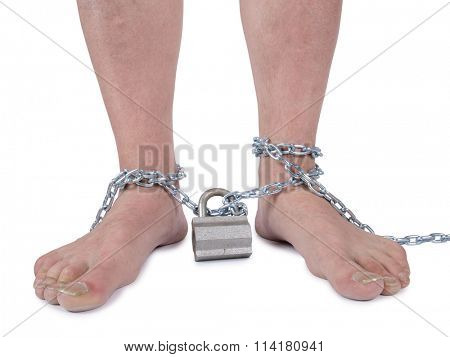 Man's legs and a metal chain