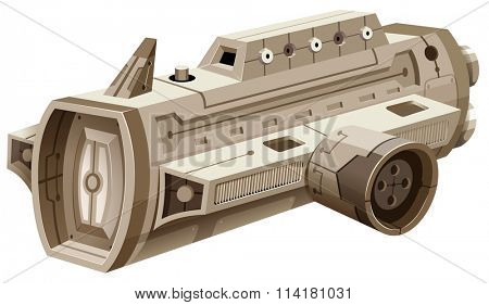 Single spaceship on white background illustration