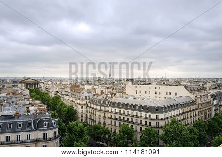 Rooftop Paris Skyline With Madeleine Church And Eiffel Tower