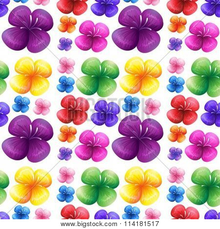 Seamless colorful flowers on white background illustration