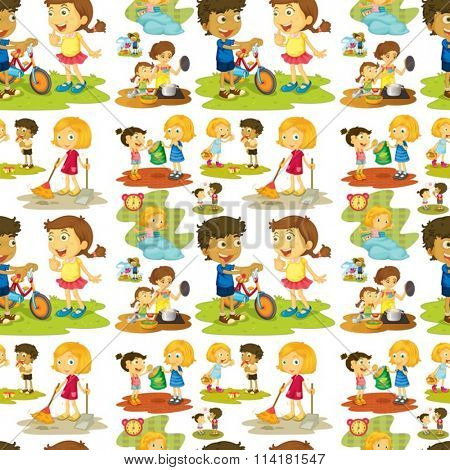 Seamless children playing and doing chores illustration