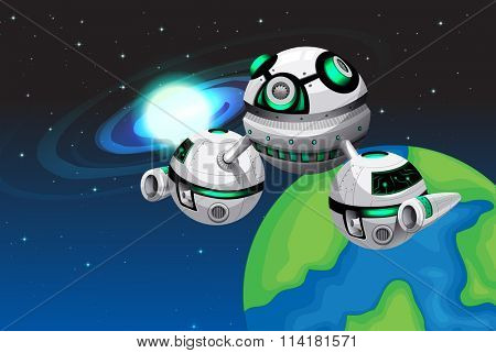 Spaceship floating in the space illustration