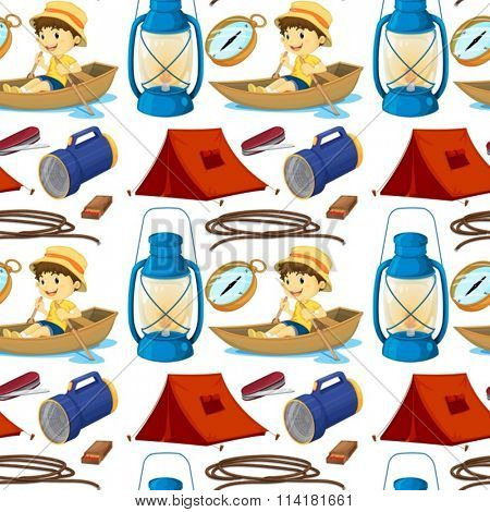 Seamless boy rowing boat and camping gears illustration