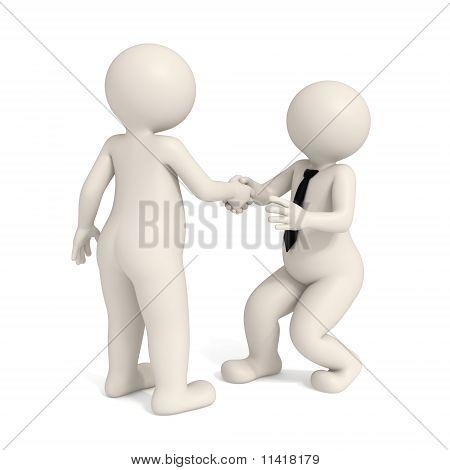 3D Business Men - Intimidating Handshake