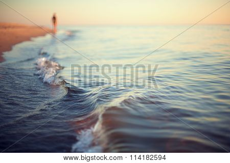 beach sunset abstract background shoreline close up