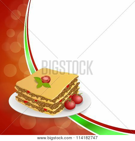 Abstract background lasagna food meat tomato yellow green red frame illustration vector