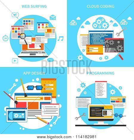 Web Development Concept Icons Set