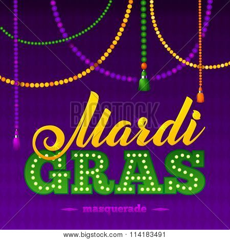 Mardi Gras Party Poster.calligraphy And Typography Card. Beads Tassels And Fleur De Lis Symbol. Holi