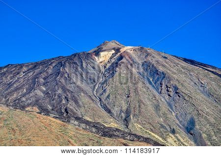 Peak of El Teide Volcano with cable railway