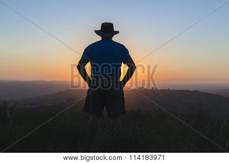 Man Sunset Landscape