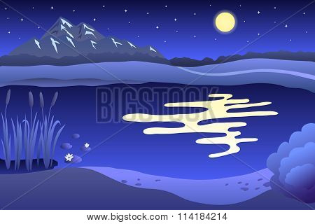 Lake summer landscape night illustration vector