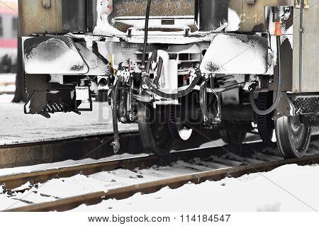 Train Wagon Links Frozen In Winter Time
