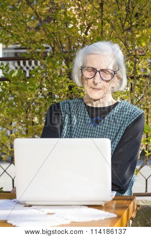 90 Years Old Woman Having A Video Call