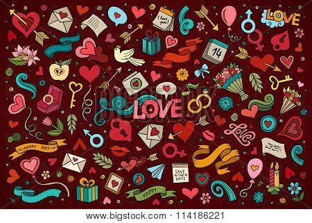 Colorful vector hand drawn doodles cartoon set of Love