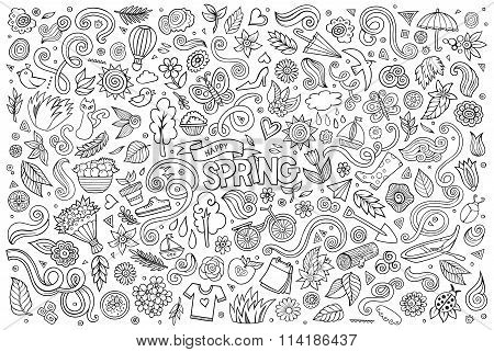 Vector sketchy line art Doodle cartoon set of objects and symbol