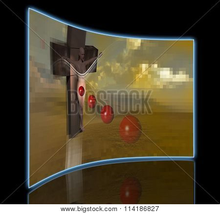 Woman  Crucified End Red Balls