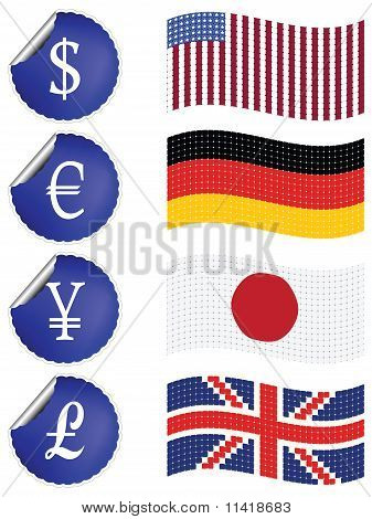 International Currency Labels With Flags