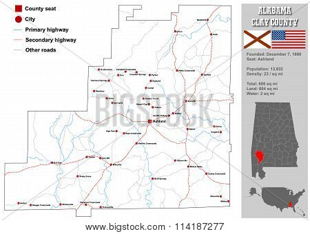 Alabama Clay County Map