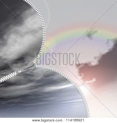 Concept or conceptual 3D abstract zipper from dramatic dark cloudy sky to a sunny summer rainbow sky with clouds background