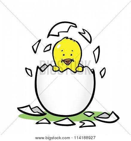 Cute adorable cartoon chick hatching from egg for easter