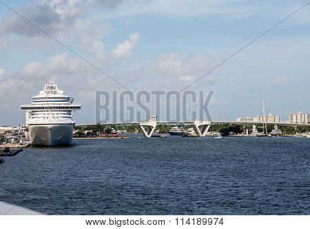 Cruise Ship By Fort Lauderdale Draw Bridge