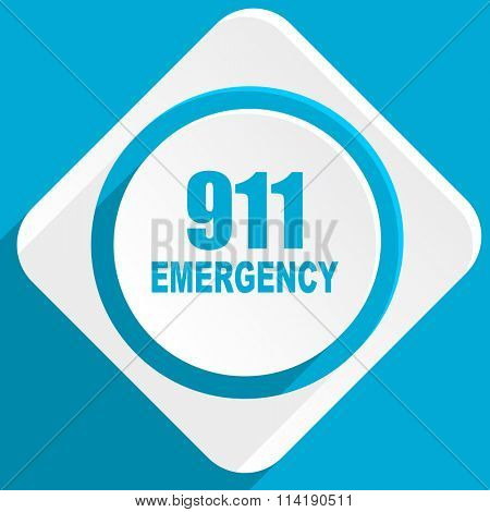 number emergency 911 blue flat design modern icon for web and mobile app