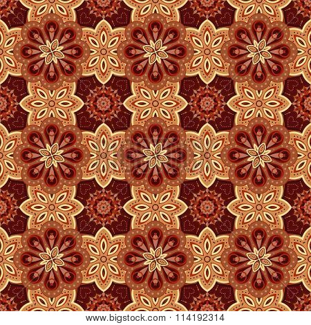 Gorgeous seamless  pattern from biege and chocolate Moroccan, Portuguese  tiles, Azulejo, ornaments. Can be used for wallpaper, pattern fills, web page background, surface textures.