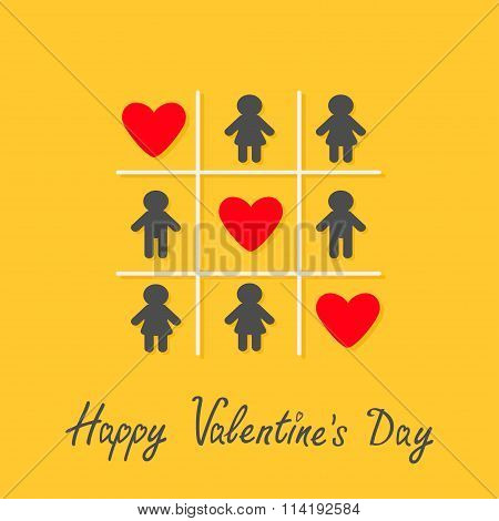 Happy Valentines Day. Love Card. Man Woman Icon Tic Tac Toe Game. Three Red Heart Sign Yellow Backgr
