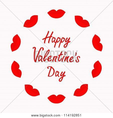 Happy Valentines Day. Love Card. Big Full Thick Red Lips Round Frame On White Background. Isolated F