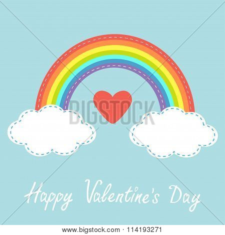 Happy Valentines Day. Love Card. Red Heart. Rainbow In The Sky. Dash Line Cloud. Flat Design Style.