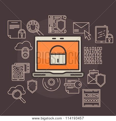 Data protection flat illustration