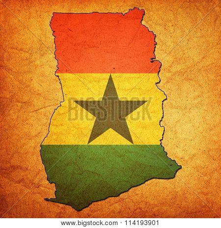 Ghana Territory With Flag