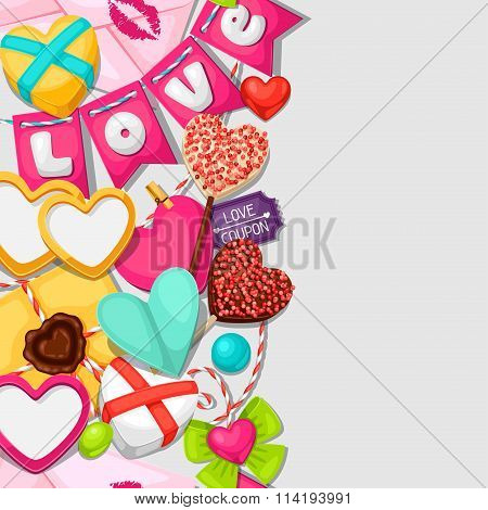 Seamless pattern with hearts, objects, decorations. Background can be used for Valentines Day and we