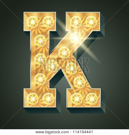 Vector shining light up lamp alphabet in hard font. Letter K