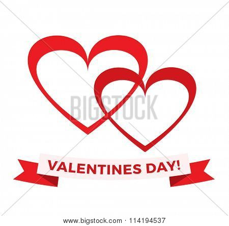 Vector hearts icons and valentines day greeting text illustration. Flat hearts icons, hearts isolated on white background. Hearts vector, Valentine Day greeting card
