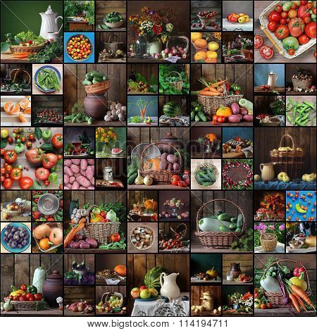 Collage From  Still Lifes With Fruit And Vegetables.