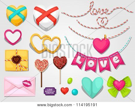 Set of hearts, objects, decorations. Can be used for design Valentines Day cards and wedding design.