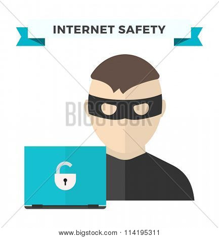 Internet security data privacy vector illustration. Internet security, internet traffic control.