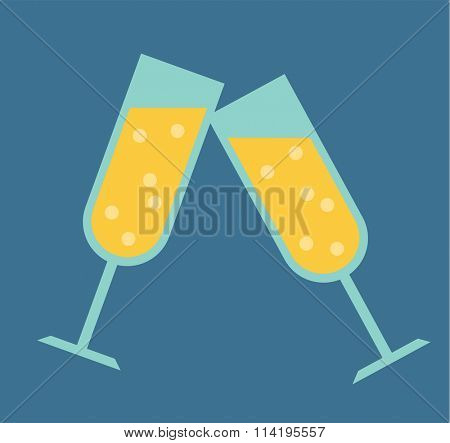 Champagne glass vector illustration. Champagne glass isolated on background. Wedding card background design element. Valentine day