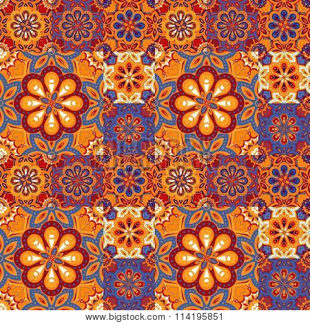Seamless pattern on the tiles, majolica, arabic, blue, orange vector
