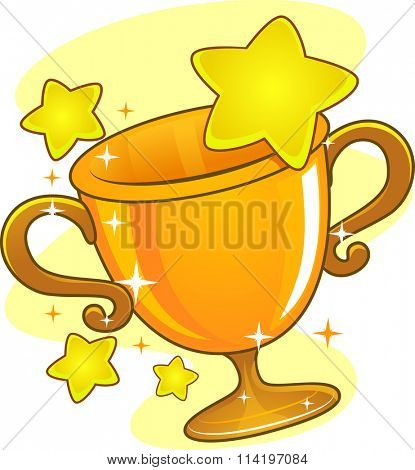 Illustration of a Golden Cup Trophy Surrounded by Stars