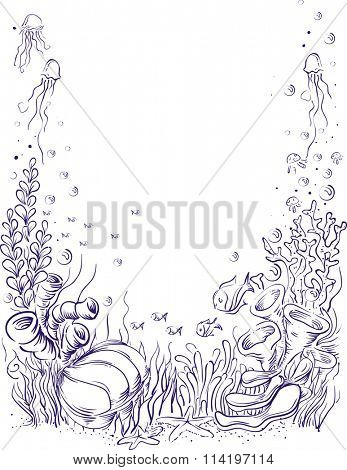 Sketchy Illustration of an Underwater Scene Colored Purple