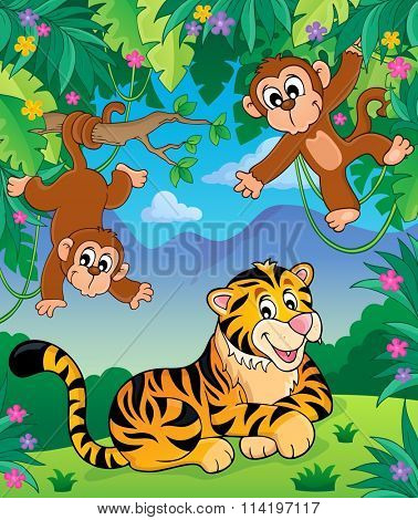 Animals in jungle topic image 4 - eps10 vector illustration.