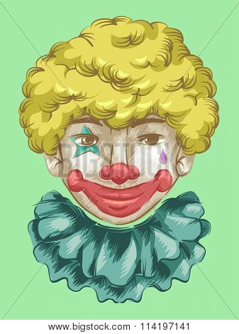 Illustration of a Fully Made Up Clown Flashing a Smile