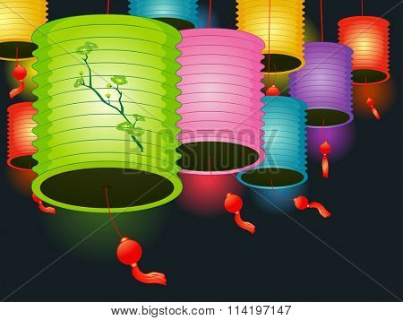 Illustration of Colorful Paper Lanterns Used as Decorations for a Lantern Festival